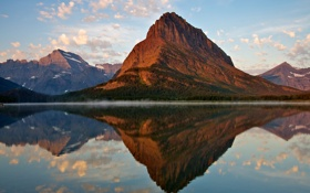 Обои озеро, отражение, река, гора