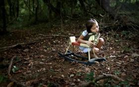 Картинка лес, настроение, игрушка, девочка