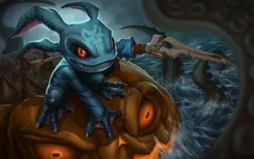 Картинка море, праздник, арт, League of Legends, Fizz, Tidal Trickster, Halloween Fizz
