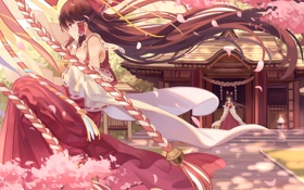 Картинка деревья, дом, девушки, аниме, лепестки, сакура, арт