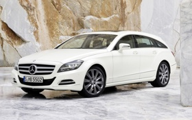 Картинка белый, фон, Mercedes-Benz, CLS, Мерседес, гранит, передок