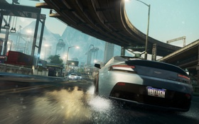 Обои car, мост, Aston Martin, гонка, трасса, Need For Speed Most Wanted