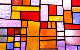 Картинка стекло, свет, обои, текстура, витраж, клетки