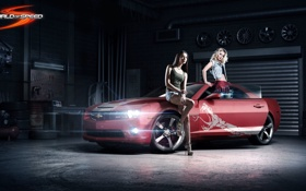 Картинка машина, красный, девушки, юбка, змея, гараж, Chevrolet