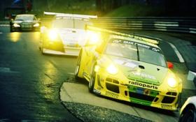Обои авто, гонка, 911, Porsche, поворот, cars, GT3