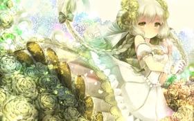Обои девушка, цветы, улыбка, розы, аниме, арт, рога