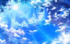 Обои небо, солнце, облака, лучи, голубое, красота, Beautiful sunlight