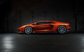 Обои Lamborghini, ламборджини, Vorsteiner, orange, LP700-4, Aventador, left