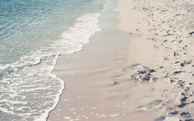 Обои песок, пляж, следы, природа, прилив