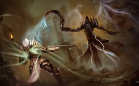 Картинка крылья, арт, Diablo 3, серп, Tyrael, Reaper of Souls, Malthael
