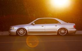 Обои солнце, блики, Audi, ауди, тюнинг, серебристая, silvery