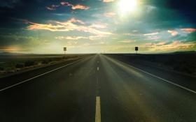 Обои дорога, поле, небо, солнце, лучи, пейзаж, трасса