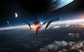 Обои космос, звезды, город, луна, корабль, планета, спутник