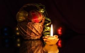 Картинка свет, отражение, шары, корзина, игрушки, свеча, лента