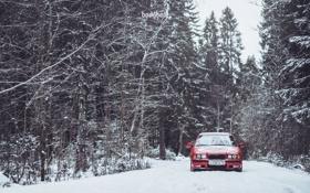 Обои Зима, Дорога, Красная, Снег, BMW, БМВ, Red