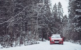 Картинка Зима, Дорога, Красная, Снег, BMW, БМВ, Red