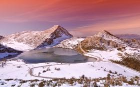 Обои зима, горы, озеро, вечер, Испания, провинция, Астурия