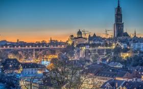 Картинка река, здания, дома, вечер, Швейцария, панорама, Switzerland