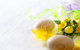 Обои Пасха, цветы, яйца