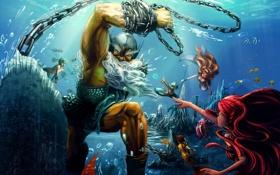 Картинка chains, sea, Poseidon, sirens