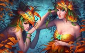 Обои растения, листья, арт, девушки