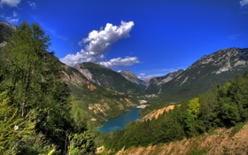 Обои лес, горы, природа, озеро