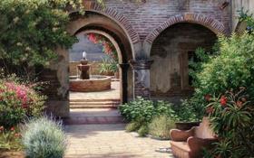 Картинка крыша, лето, деревья, цветы, дом, диван, растения