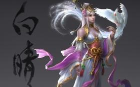 Обои девушка, птица, прическа, иероглифы, белая