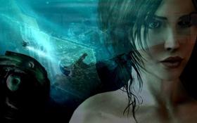 Картинка tomb raider, глаза, губы, девушка, lara croft, лицо, водопад