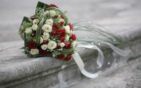 Обои камень, букет, ступени, свадьба