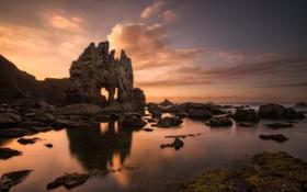 Обои природа, скалы, берег, море, расвет