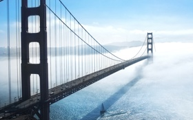 Обои пролив, Мост, туман, Золотые Ворота, Golden Gate Bridge, Сан-Франциско, San Francisco