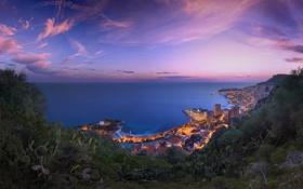 Картинка море, город, побережье, вечер, панорама, Монако