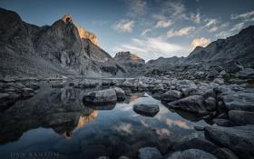 Картинка закат, горы, природа, река, камни
