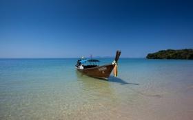 Обои пляж, океан, берег, лодка, Тайланд