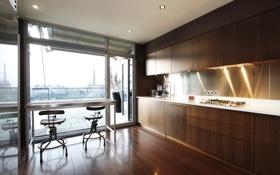 Обои дизайн, город, дом, стиль, комната, интерьер, кухня
