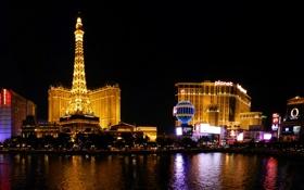 Обои фото, Дома, Ночь, Город, Река, Лас-Вегас, США
