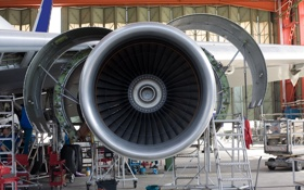 Обои power, plane, wing, turbine