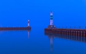 Обои море, небо, маяк, бухта, вечер