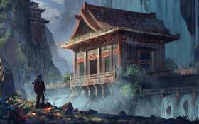 Обои пейзаж, человек, арт, храм, by k04sk-d2zc0lv, uncharted redesign temple