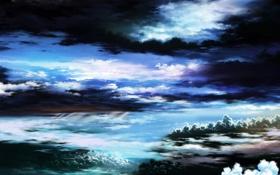 Обои проблески, облака, света, ночь, красивая, перистые, night sky