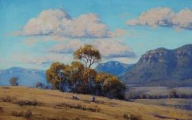 Обои животные, облака, деревья, природа, овцы, холм, арт