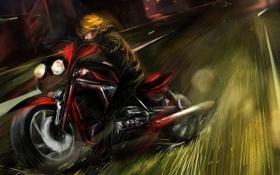 Картинка дорога, скорость, арт, искры, мотоцикл, парень, Death Note
