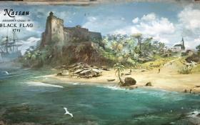 Обои море, пляж, остров, Черный Флаг, карибы, Assassin's Creed IV: Black FlagКредо Убийцы IV