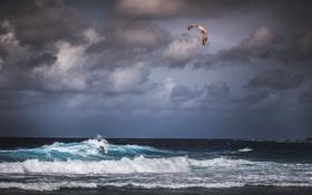 Обои гроза, волны, пляж, небо, облака, ветер, экстремальный спорт