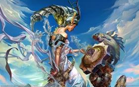Картинка облака, металл, девушка, рыбы, chen wei, арт, куб