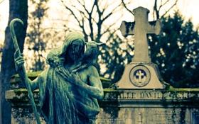 Обои кладбище, памятник, неизбежно, уныло, бетон, крест