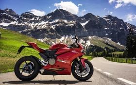 Картинка дорога, горы, красный, мотоцикл, Ducati, superbike