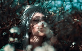 Картинка девушка, ветка, весна