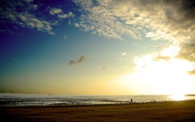 Картинка море, небо, солнце, пейзаж, природа, фото, фон